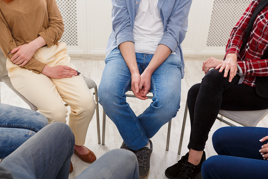 Group therapy. Rehab group on psychology support meeting, closeup